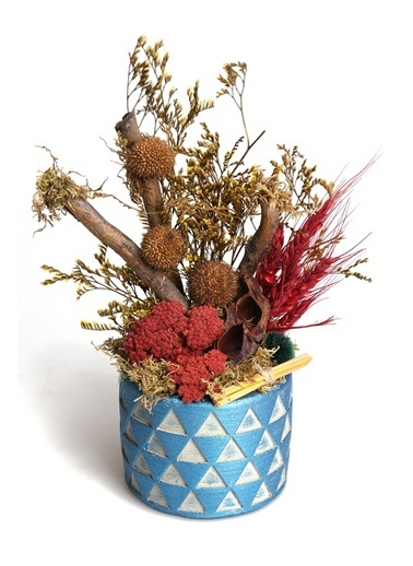 Kibrithane Çiçek Yapay Çiçek Beton Saksı Doğal Kuru Çiçek Aranjman Kc00200828 Renkli